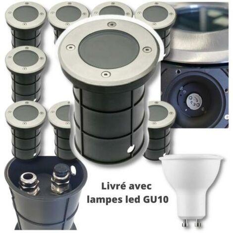 10 Spots Exterieurs IP67 230V double presse-étoupe + 10 LED GU10 5W 2700K