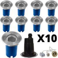 Lot de 10 Spots exterieurs encastrables Inox 316 L pour LED GU10 ou GU5.3