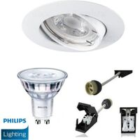 Spot Led GU10 Encastrable Blanc équipé LED Philips 5W dimmable 2700K