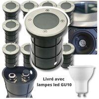 10 Spots Exterieurs IP67 230V double presse-étoupe + 10 LED GU10 5W 4000K