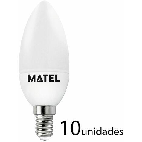 10 unidades bombilla LED vela E14 7w cálida 650lm