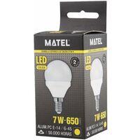 Bombilla LED esférica E14 7w cálida 650lm