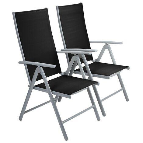 Strong Adjustable Aluminium Folding Garden Dining Chair Seats (2 Pack   Black)