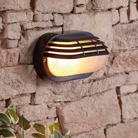 Classic Eyelid-Style Wall Mounted Oval Bulkhead Outdoor Light - Black IP54 40W