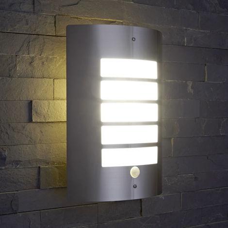 Biard Modern Silver Curved Outdoor Garden Wall Security Light PIR Motion Sensor