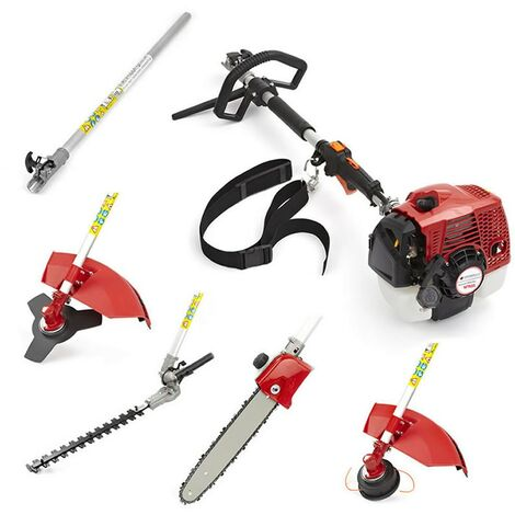 62cc Petrol 5 in 1 Garden Multi-Tool Long Reach Trimmer Cutter Chainsaw Pruner