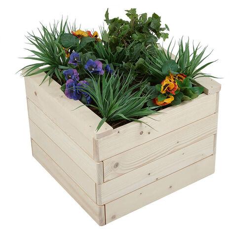 Square Wooden Vegetable Planter Box Timber Flower Plant Pot Outdoor Herb Garden