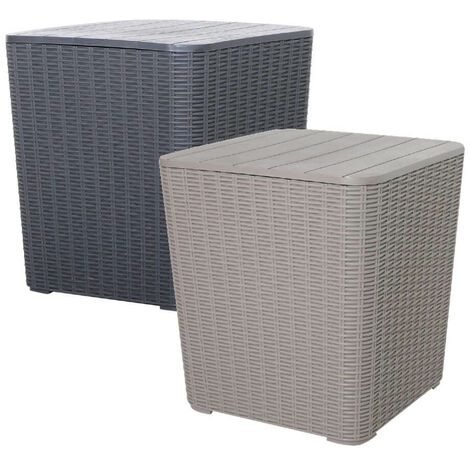 Black Outdoor Rattan Effect Side Table Storage Box Seat Garden Patio Furniture