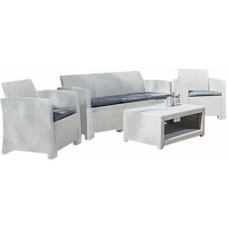 Marbella 5 Seater Rattan Sofa Outdoor Garden Set Coffee Table Grey