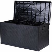 Waterproof Outdoor Lockable Black Storage Chest Box Unit - Cushions Toys Tools