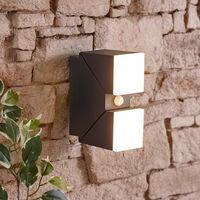 Ziersdorf LED Square Up and Down Outdoor Wall Light with PIR Sensor - Anthracite