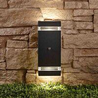 Black Square Modern Outdoor Up Down Wall Light Dusk till Dawn Sensor IP44 A++