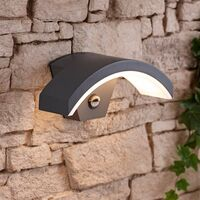 Curve Halo Modern IP54 LED Outdoor Security Wall Mounted Light with PIR Sensor