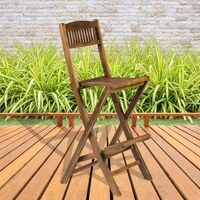 Wooden Folding Bar Chair with Intergrated Footrest - Indoor Outdoor High Stool