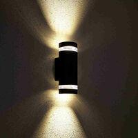 Biard Black Curved Outdoor Up Down Wall Light - IP44 Garden Porch Front Door