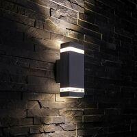 Black Square Modern Outdoor Up Down Wall Light IP44 A++ Garden Porch Front Door