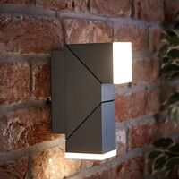 LED Square Up Down Modern Anthracite Outdoor Wall Light Garden Porch Door IP54