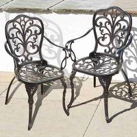 2 Cast Aluminium Armchairs - Outdoor Metal Patio Garden Furniture Chairs