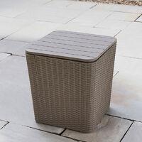 Black Outdoor Rattan Effect Side Table Storage Box Seat Garden Patio Furniture