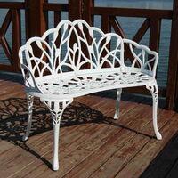 White Cast Aluminium 2-Seater Garden Park Bench Outdoor Terrace Patio Furniture