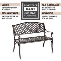Cast Aluminium 2-Seater Garden Bench Outdoor Patio Furniture Terrace Seating