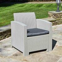 Grey Rattan Effect Armchair with Cushion - Outdoor Patio Garden Furniture