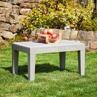 Grey Rattan Effect Coffee & Drinks Side Table - Outdoor Garden Patio Furniture