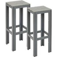 2 High Outdoor Bar Stools Metal Frame Polywood Grey Garden Patio Furniture