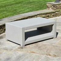 Marbella 4 Seat Rattan Armchair Outdoor Garden Set Coffee Table Grey