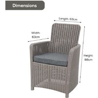 Grey Rattan Effect Outdoor Dining Lounge Patio Garden Armchair with Cushion