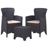 3PC Rattan Style Armchair & Table Bistro Balcony Set - Outdoor Garden Furniture