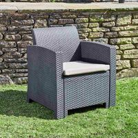 Marbella 4 Seat Rattan Armchair Outdoor Garden Set Coffee Table Graphite Cream