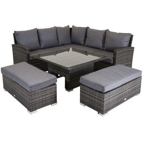 Charles Bentley Rattan Corner Lounge Set with Table Grey - Grey