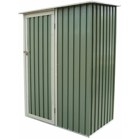 Charles Bentley 4.7ft x 3ft Metal Storage Shed Chest Small Green Roof Door Apex - Green