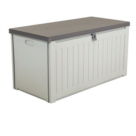 Charles Bentley 190L Outdoor Garden Plastic Storage Box, Beige/Grey - Beige, Grey