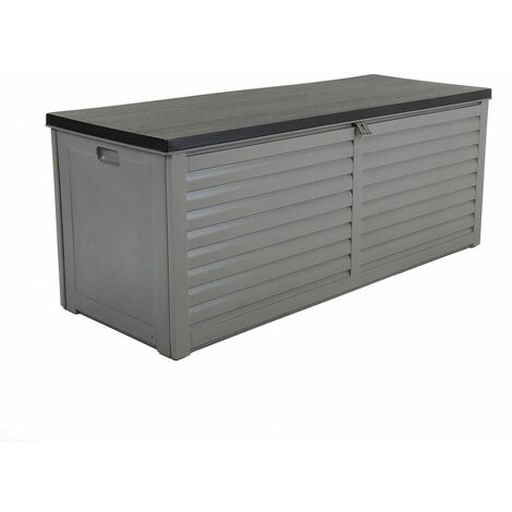 Charles Bentley 390L Large Outdoor Garden Plastic Storage Box, Grey/Black - Black, Grey