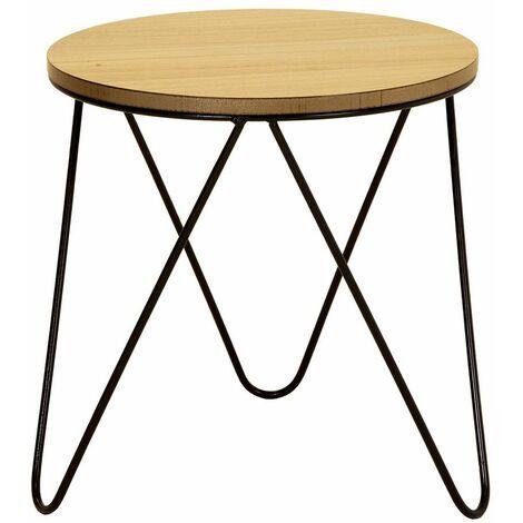 Charles Bentley Round Wood & Metal Hairpin Industrial Bed Side Table - Black