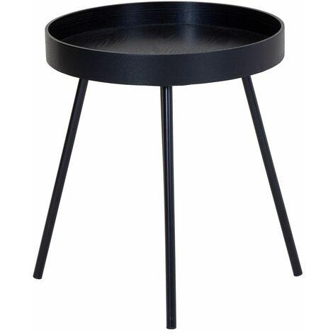 Charles Bentley Industrial Style Scandi Tray Bedside/Side Table Black - Black