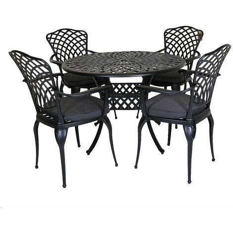 Charles Bentley Cast Aluminium Table and 4 Chairs Set Black Outdoor Dining Table