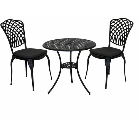 Charles Bentley Cast Aluminium Bistro Table and 2 Chairs Set Black Outdoor Table - Black, Gray