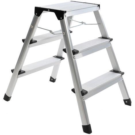 Charles Bentley Folding Kitchen Home 3 Step Aluminimum Stool Ladder - Silver