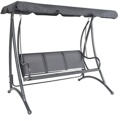 Charles Bentley 3 Seater Outdoor Swing Seat Bench Chair Hammock w/ Canopy -Grey - Grey