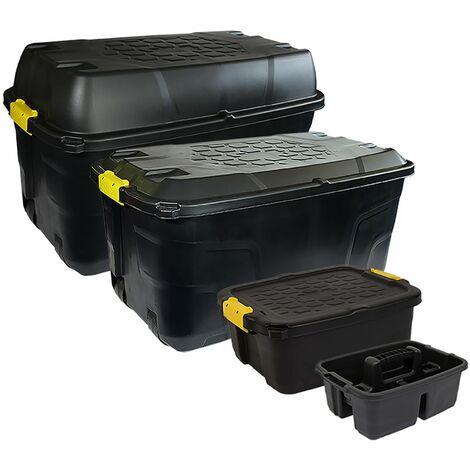 Charles Bentley Strata Heavy Duty Bundle - Set of 4 - Box 175L, 145L, 24L, Caddy - Black, Yellow