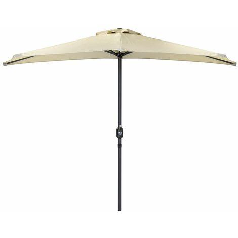 Charles Bentley 2.7m Beige Metal Garden Balcony Umbrella With Crank Function - Beige