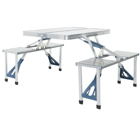 Charles Bentley ODYSSEY 4 Seater Folding Dining Table Camping Picnic Portable - BLUE, SILVER