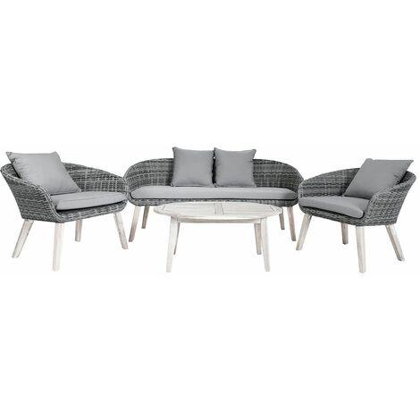 Charles Bentley Rattan & Hardwood Madrid Lounge Set 2 Chairs Sofa & Coffee Table - Grey