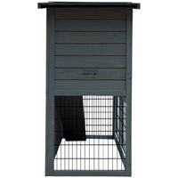 Charles Bentley FSC Two Storey Pet Hutch with Play Area Grey - Grey