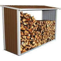 Charles Bentley Metal Log Wood Store Shed - L242 xD89 x H148 (8x3ft) - Brown