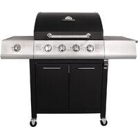 Charles Bentley 5 Burner Premium Gas BBQ (4 x Burner + 1 Side Burner) - Black - Black