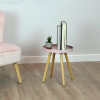 Charles Bentley Tray Top Side Table with Pine Legs Blush Living Bed Room Scandi - Pink